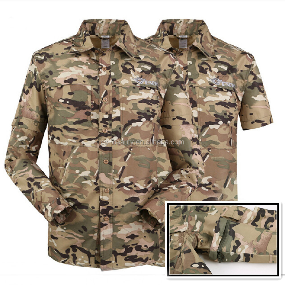 Mens Multicam Combat Training t shirt Sleeves Detachable Tactical shirts