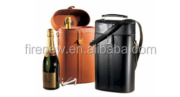 Faux Leather Double Wine Box, Wine Carrier for 2 Bottles