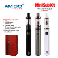 2015 Subtank Mini Amigo mini sub kit itsuwa 50 Watt sub ohm start kit free sample chicha electronic vaporizer pen style ego w