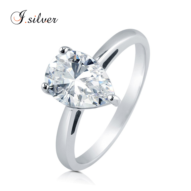 Wholesale 925 silver diamond Pear CZ Solitaire rings R500271