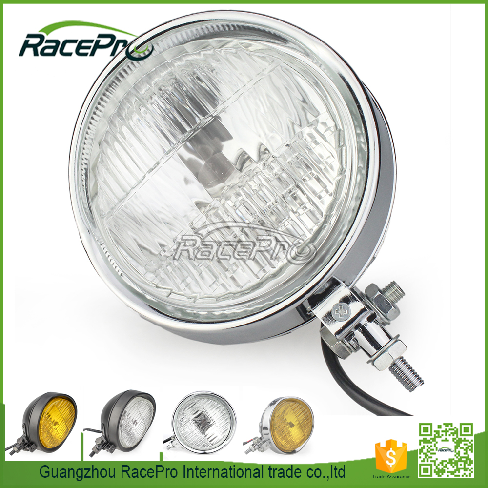 "H4 5-3/4"" 55/60W Halogen Bulb Motorcycle Fog Light Headlight for Harley Cruiser/ Bobber /Cafe Racer"