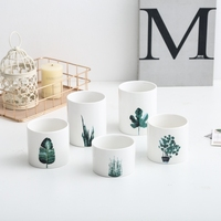 Exported fresh zakka home decoration ceramic succulent print flower pot