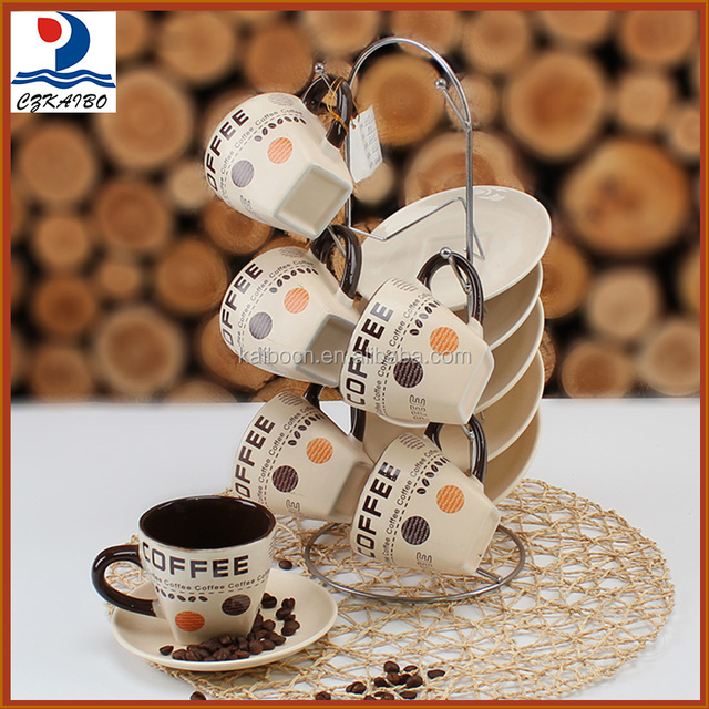 China factory wholesale price beige porcelain coffee cup with saucer and metal stand