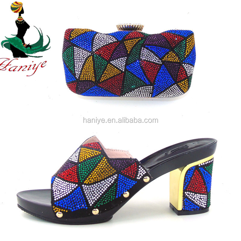 Haniye XB06-1 multi color whoesale italia evening shoes matching bag for party/new arrival high quality shoes and bag set