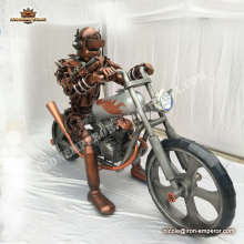 Metal welding soldier sculpture & motorcycle models outdoor cast iron statue sculpture four season