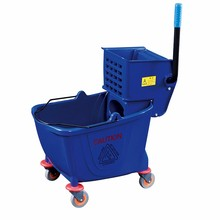 Side-press small single plastic cleaning mop bucket trolley with wheels