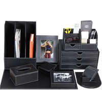 Leather office desk accessories organizer stationery desk set