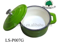 Mini enamel green color cast iron casserole cookware