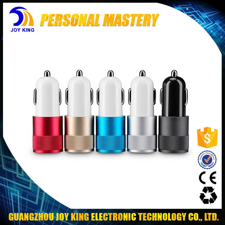 High Quality LED Display Mini 5V 2.1A Dual USB Car Charger Adapter For iPhone Charger JKUC07