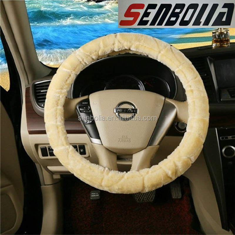 2016hot sell fiber steering wheel short fur car seat covers