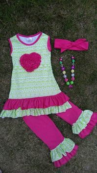 2015 new hot baby girls summer green hot pink flower outfits with matching necklace and headband