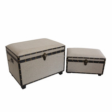 MOQ 35 set house containers gray upholstered storage trunk with leather edge