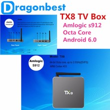 2016 Best Christmas Gift Amlogic s912 TX8 TV Box Codi Android 6.0 OS Marshmallow Octa Core 2GB DDR AP6330 support 2.4G + 5G Wifi