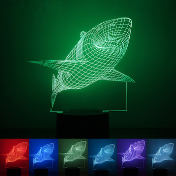 Zogift 3D Illusion Acrylic Mini Shark Night Light Color Changing LED Table Lamp Room Decoration Lighting Wooden Base