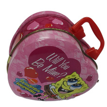 Embossed Hinged Heart Shaped Chocolate Tin Box With Handle And Latch