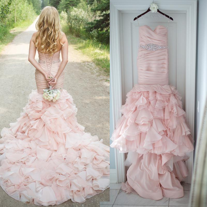 Ll033 Hot Sale Pleated Sweetheart Blush Pink Wedding Dress 2017 ...