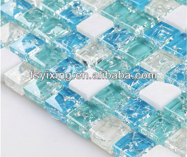 PY009 Ice crackle glass stone mosaic blue tiles for living room bathroom bedroom background wall tile decoration