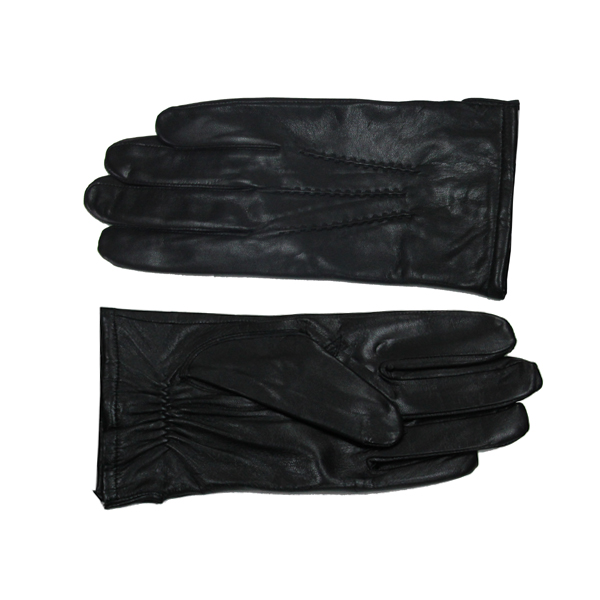 Men Black Plain Style Leather Gloves Smartphone Accessories