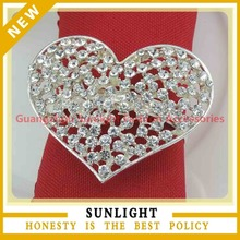 New Design Heart Shape Crystal Rhinestone Napkin Ring for wedding