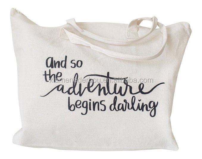 Tote bag cotton canvas with Special Saying - Zipper Top, Interior Pocket