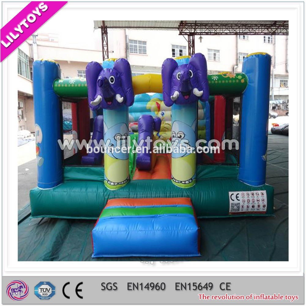 EN71-1-2-3 passed pvc material type China inflatable elephant bouncers, hot jumping game