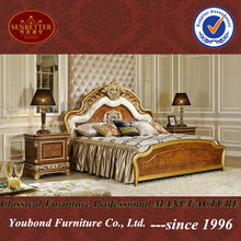 0062 High end wooden carved king size classic bedroom furniture