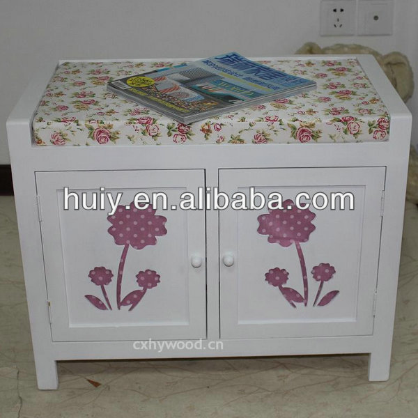 Pastoral Paulownia White Paint Small Wooden Cabinet