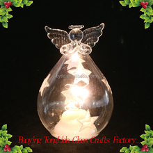 Clear stained glass angel with led light wholesale