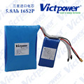 Victpower 5.8ah 60v 18650 lithium battery pack for electric skateboard