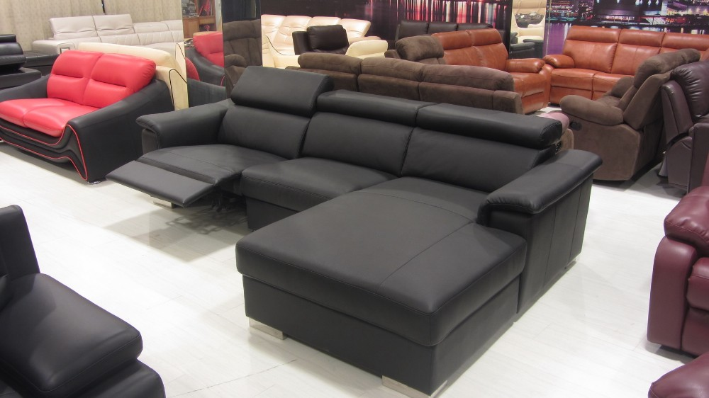 New L Shaped Sofa Designs Modern Genuine Leather Recliner