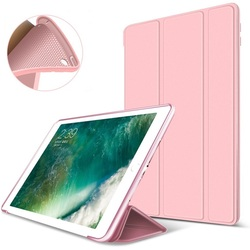Luxury Soft Silicone PU Leather Smart Case Stand Magnetic Cover for iPad 9.7 2017 & 9.7 2018 Rose-gold