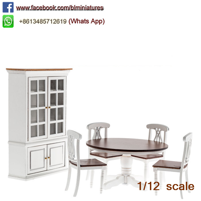 One Inch Doll House Furniture Miniature Dinning Room Set/6 Table, Chairs & Hutch