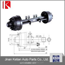Semi trailer inboard rear drum brake axle, American and German truck parts axle