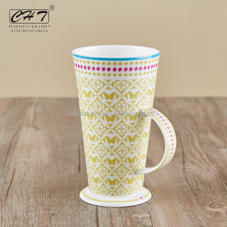 Wholesale 12oz elegant thin bone china mug for bars and resorts