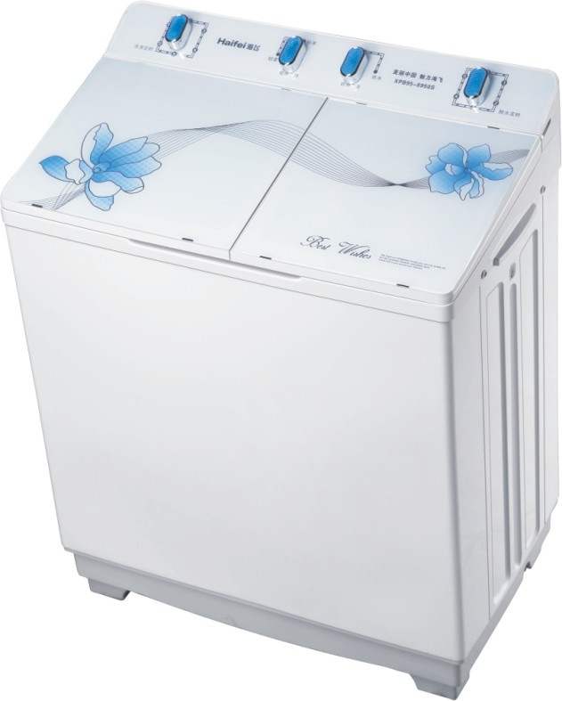 twin tub washing machine, XPB95-8950S( flat tempered glass cover)