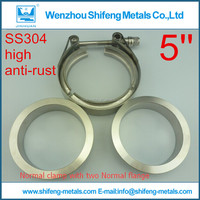 "5"" V Band clamp flange set (Stainless Steel 304 Clamp+SUS304 Flange) For turbo exhaust downpipe"