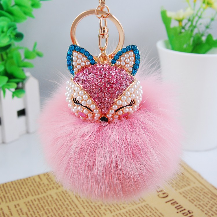 8cm Solid Color Fox Fur Ball Keychain Handbag Key Ring Car Key