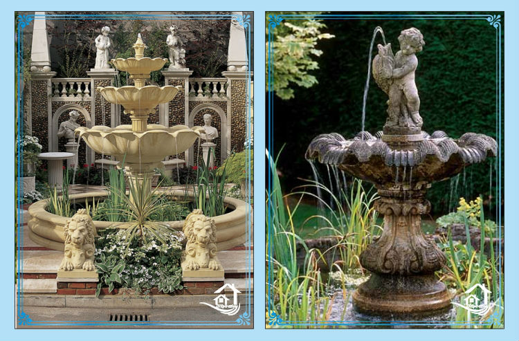 Amalfi two tier resin outdoor fountains buy resin for Ornamental garden features