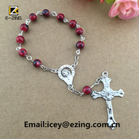 Wholesale glass beads catholic religious rosary bracelet, rosary rings, catholic rosary finger ring bracelet