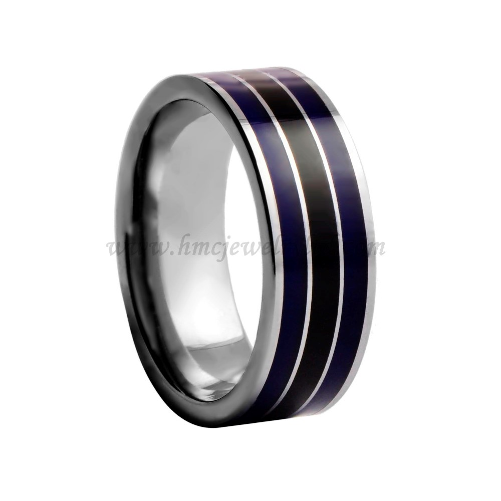 Polished Shiny Blue Resin Inlay Tungsten Carbide Gay
