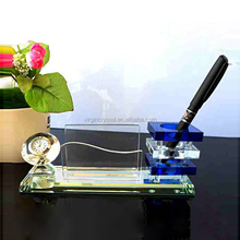 Cristal Office Sets/ Crystal Desktop Pen Holder and Table Clock and Card Holder/Triad suit