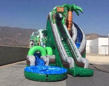 Cheap commercial giant tropical palm tree inflatable water slide for sale
