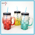 Spray Colored Drinking Glass Skull Shape Glass Mason Jar with Handle