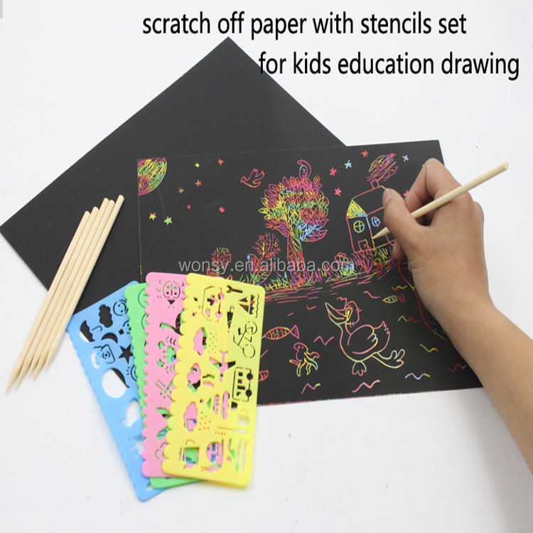 kids drawing DIY scratch off paper and stencils kit/set activity book