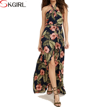 Plus size casual floral printed sleeveless halter women long dress summer with high slit