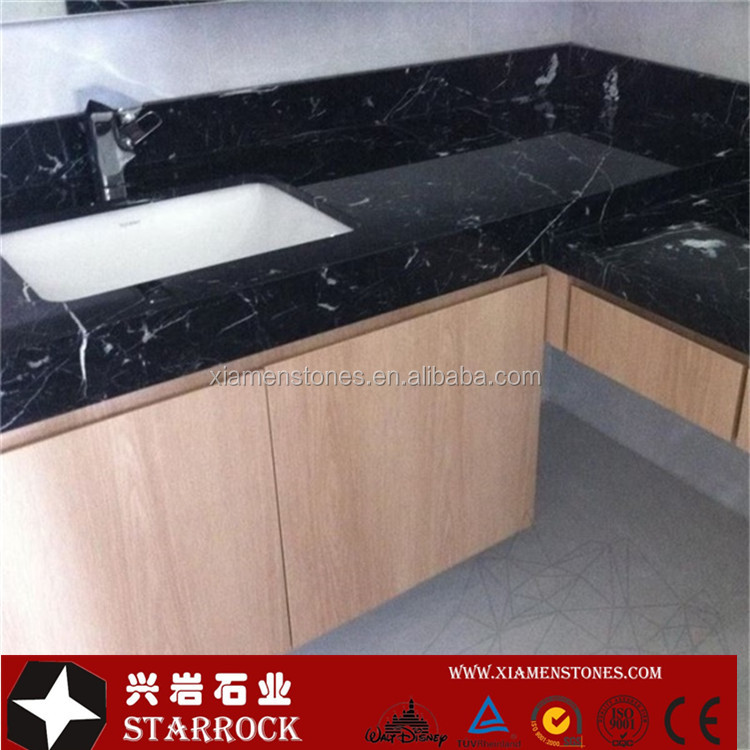 Chinese Natural Black Marble Nero Marquina Marble Countertop