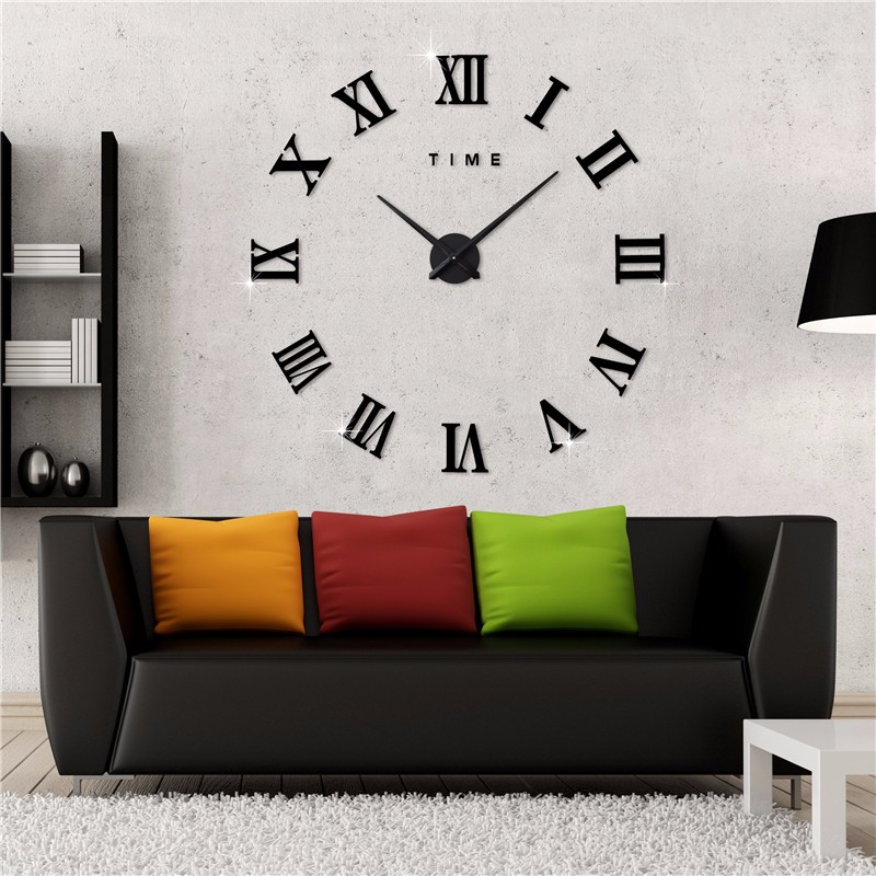 DIY Roman Numerals Home Decor Frameless Large 3D Mirror Wall Clock Sticker