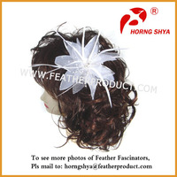 White Bridal Hair Flower Feather Fascinator