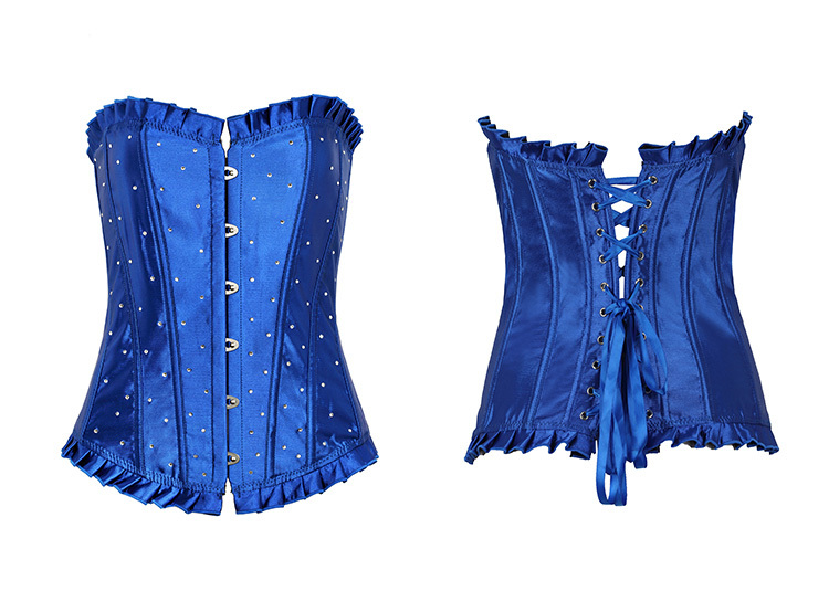 2015 Fashion Blue Women Plus Size Corsets And Bustiers Sexy Waist Corset Training HOT Body Corpetes Bustier Overbust