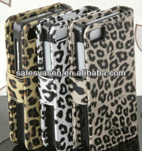 Leopard wallet leather case for blackberry z10